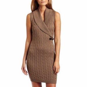 Calvin Klein Tan Cowl Neck Buckle Sweater Dress